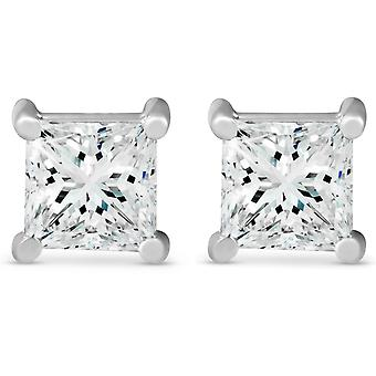 2 ct TDW Princess Cut diamant skruv tillbaka dubbar 14k vitguld Enhanced