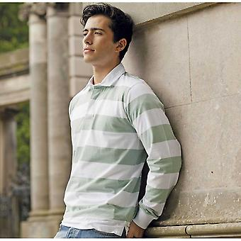 Front Row Mens Striped Long Sleeve Cotton Leisure Rugby Shirt S,M,L,XL,XXL