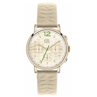 Orla Kiely Chronograph Nude Strap Gold PVD Case OK2000 Watch