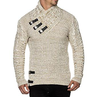 TAZZIO men's Chunky knit sweater with collar details Ecru