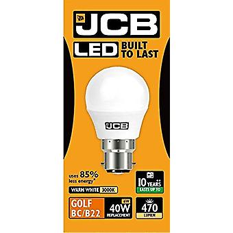 1 X JCB LED 6w = 40w BC/B22 Golf Ball Bulbs Bayonet Cap 470lm Warm White 3000k Non Dimmable [Energy Class A+]