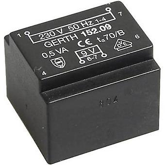 PCB mount transformer 1 x 230 V 1 x 6 V AC 0.50 VA 83 mA