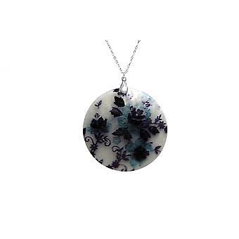 Gemshine - damas - colgante - madre collar - medallón - perla - flores - plata 925 - negro - azul 5 cm