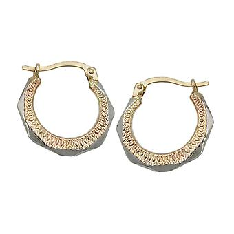 Boucles d'oreilles en diamant or 375 créole, Creole or bicolor, 9 KT GOLD