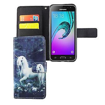 Cell phone cover tilfældet for mobil Samsung Galaxy J3 emerge hvid enhjørning