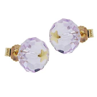 Stud Earrings gold 585 connector, glass purple bright star 14 KT GOLD