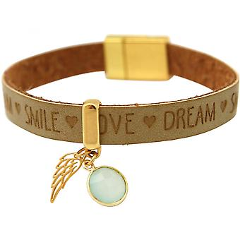 925 silver - bracelet - Angel - Wings - gold plated - WISHES - Brown sand - chalcedony - sea green - magnetic closure
