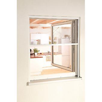 Volar el protector de pantalla de insectos juego ciego ALU-ventana 80 x 160 cm en blanco