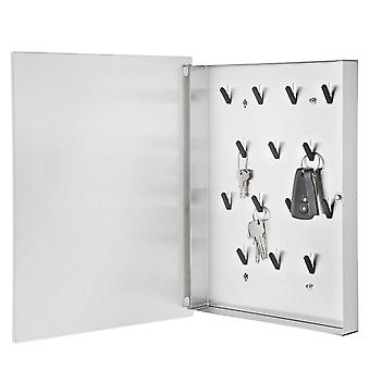 Blomus key box VELIO, stainless steel matt, white glass, 6 magnets