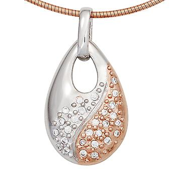 Rhodium plated sterling silver necklace pendant part red gold with cubic zirconia