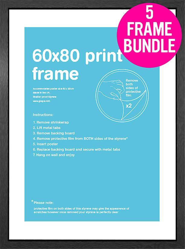 GB affiches 5 MDF noir affiche cadres 60 x 80cm Bundle