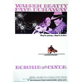 Bonnie and Clyde poster Warren Beatty, Faye Dunaway, Gene Hackman