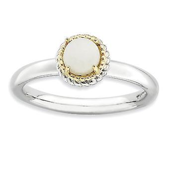 2,25 mm zilver Prong set Rhodium-plated en 14 k stapelbare expressies witte Agaat gepolijst Ring - Ringmaat: 5 t