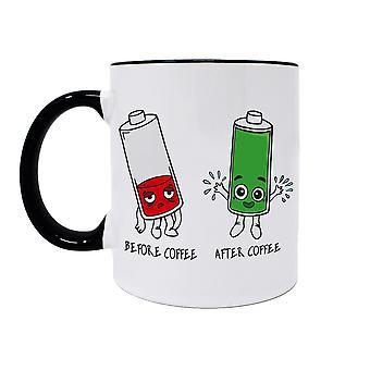 Coupe batteries avant et après blanc café, imprimé, en céramique, résistant au lave-vaisselle.