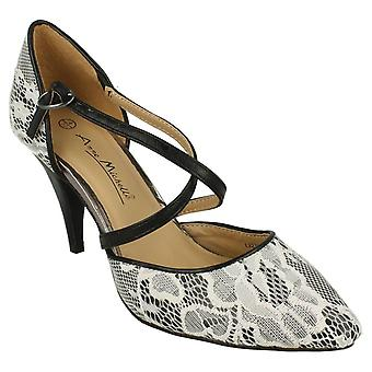 Ladies Womens New Ankle Strap Mid Stiletto Heel Strappy Courts Shoes