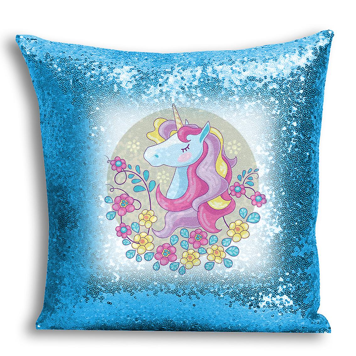 5 Blue I Cover With Printed Sequin tronixsUnicorn Home Inserted For Design Decor CushionPillow 7gIYbv6fy