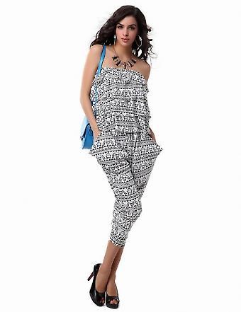 Waooh - Mode - Combinaison longue légère pantalon serré haut volants avec motifs tête de mort