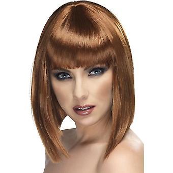 Short Brown Straight Wig, Glam Wig, Brown, Short, Blunt with Fringe