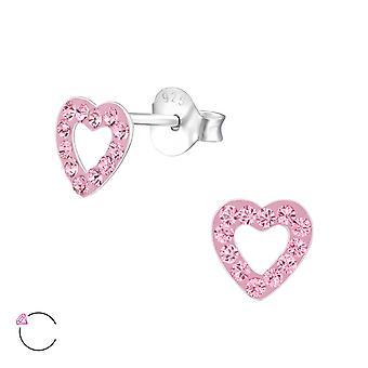 Heart - 925 Sterling Silver Crystal Ear Studs - W32786X