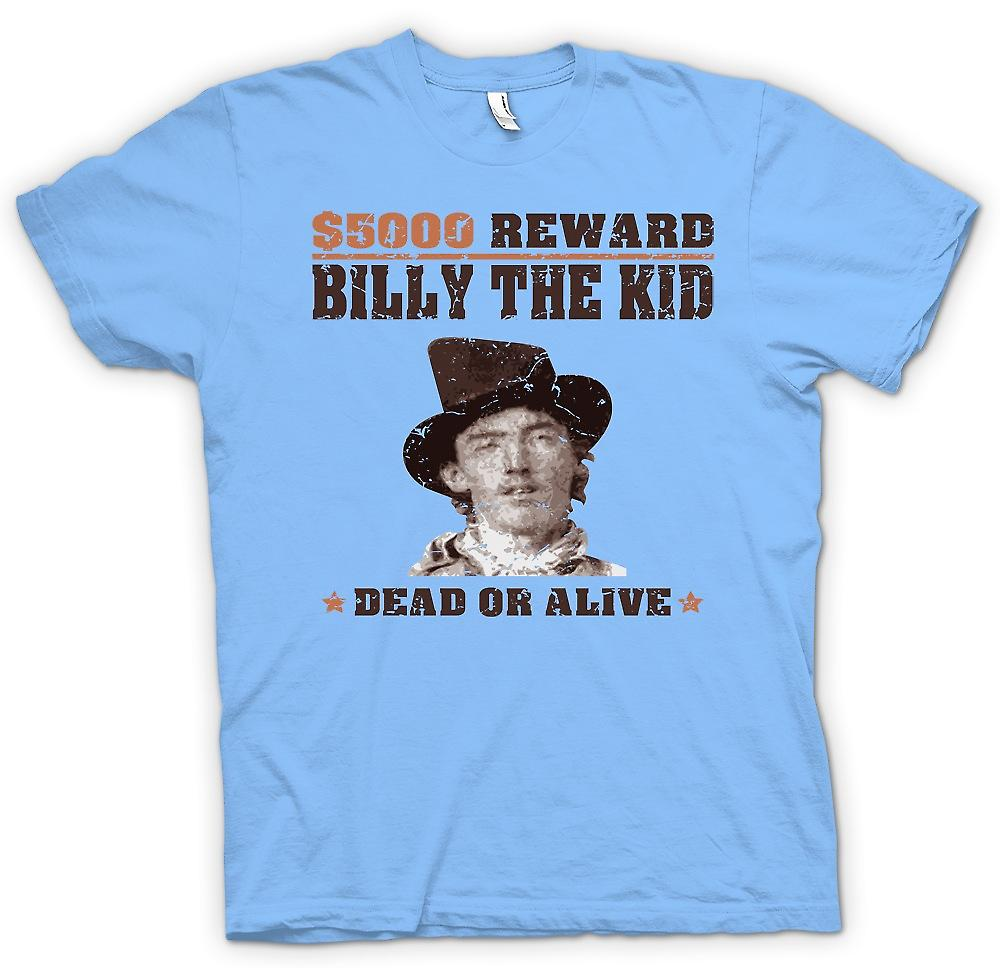 Mens t-shirt - $5000 premiare Billy The Kid - vecchio Western Wanted Poster