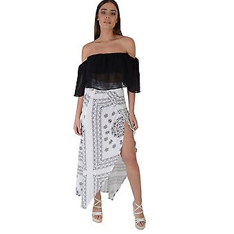 Lovemystyle White Printed Maxi Skirt With Split Front
