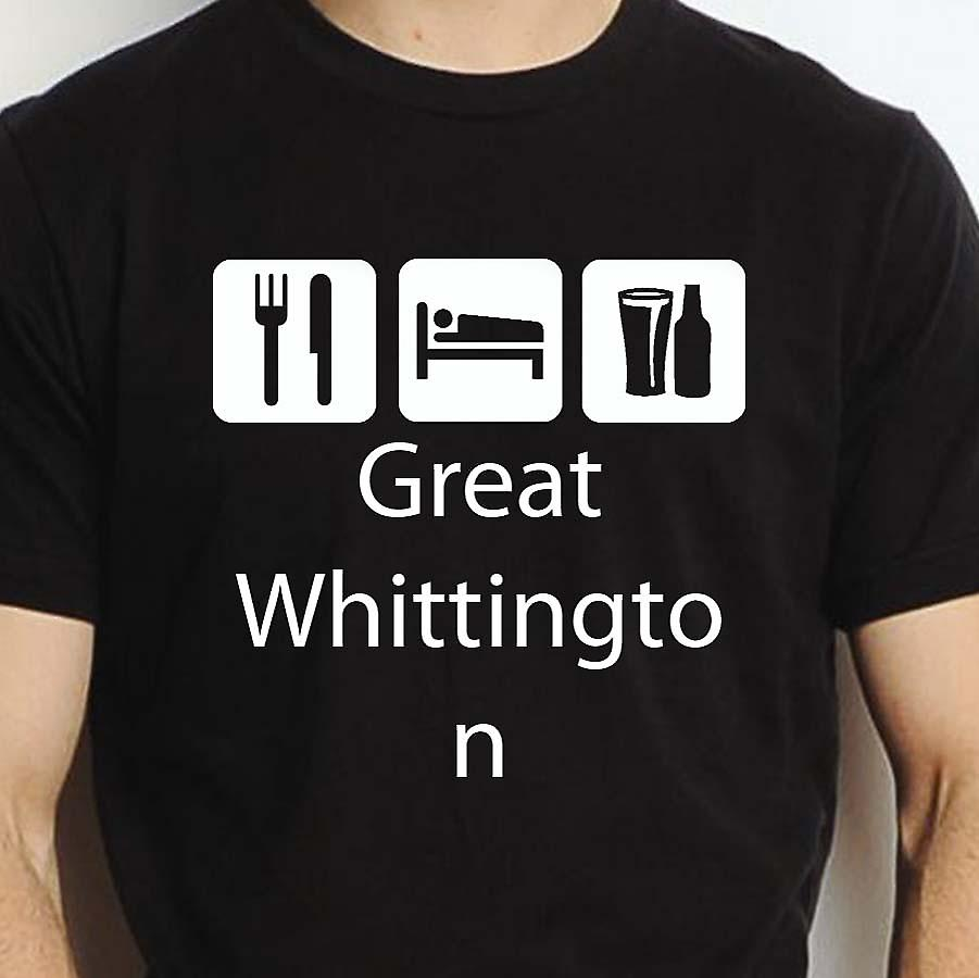 Eat Sleep Drink Greatwhittington Black Hand Printed T shirt Greatwhittington Town