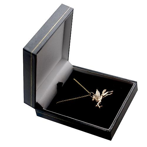 9ct Gold 29x27mm solid Pegasus in Flight Pendant with a cable Chain 16 inches Only Suitable for Children