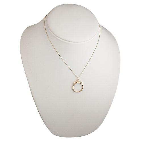 9ct Gold 26x23mm Full Sovereign mount channel with 2 scrolls Pendant with a curb Chain 18 inches