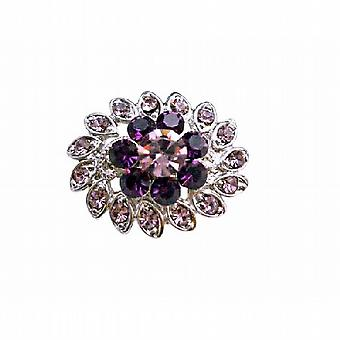 Simulated Light & Dark Amethyst Crystal Flower Dress Brooch Pin