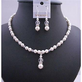 Handmade Jewelry Set Swarovski White Pearls & Clear Crystals