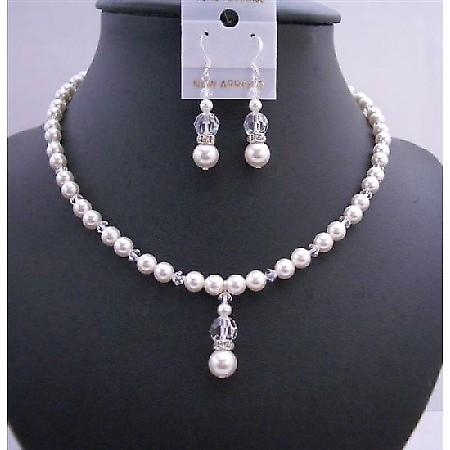 Handmade Jewelry Set Swarovski White Pearls & Clear Crystals