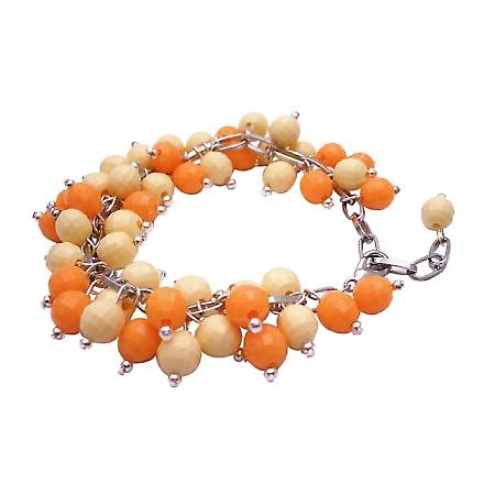 Jewelry Gift Canary Tangerine Cluster Bracelet Handmade Creation