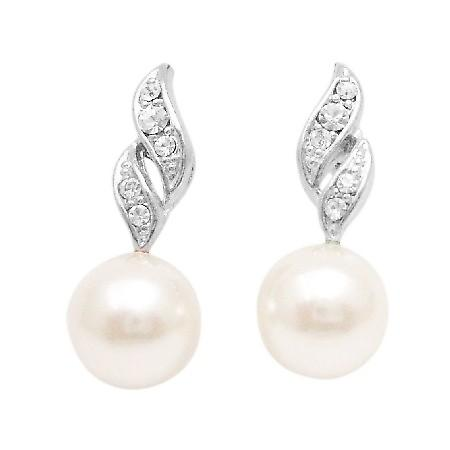 Find Bridesmaid Beautiful Pair Of Earrings Diamante Pearls Jewelry