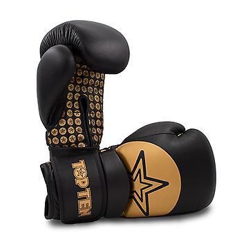 Top Ten poignet gants de boxe étoiles noir/or