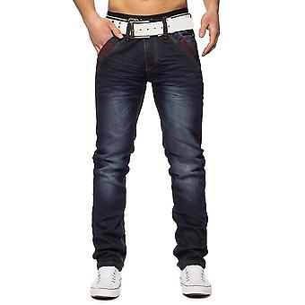 Men Vintage Denim Distressed wash jeans pants stretch placket Regular Fit