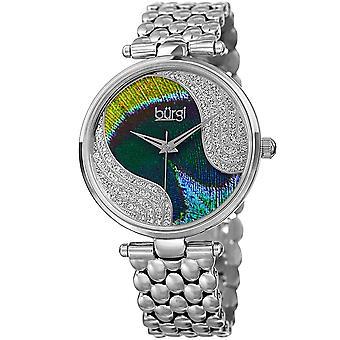 Burgi Women's Quartz Peacock Dial Stainless Steel Bracelet Watch Made w/ Swarovski Crystals Watch BUR162SS
