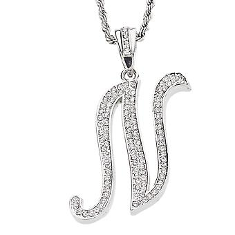 Iced out bling script letter chain - N