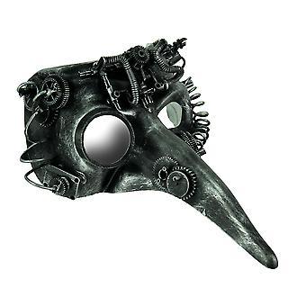 Steamzanni metallizzato argento lungo naso Steampunk adulto Costume maschera