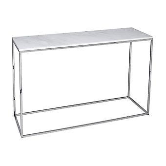 Gillmore Space White Marble And Silver Metal Contemporary Console Table