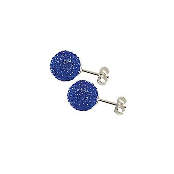 Eternal Collection Shamballa 10mm Sapphire Blue Glitter Ball Silver Tone Stud Pierced Earrings