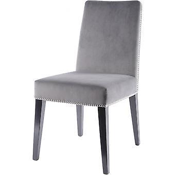 Weegschaal meubilair grijs fluweel eetkamerstoel met donkere Birchwood benen