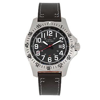 Elevon Aviator Leather-Band Watch w/Date - Black