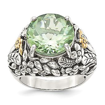 925 Sterling Silver With 14k Green Quartz Ring - Ring Size: 6 to 8