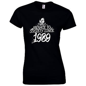30th Birthday Gifts for Women Her Menace To Society 1989 T-Shirt