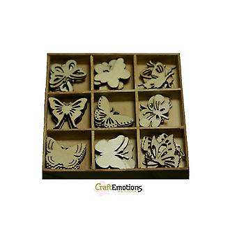CraftEmotions - Wooden Embellishment Box - Botanical Butterflies, 45 pieces 811500/0101