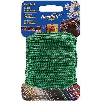 Needloft Novelty Craft Cord 20 Yards Metallic Green 550 55004