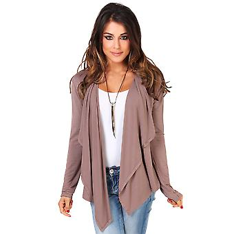 KRISP Womens Jersey Waterfall Cardigan