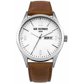 Ben Sherman Mens Brown Leather Strap White Dial WB053T Watch