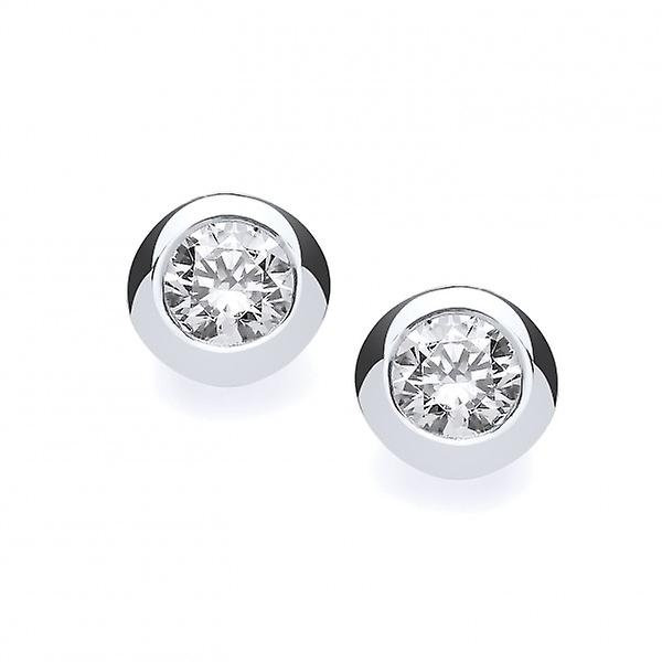 Cavendish French Sterling Silver Open-Backed CZ Solitaire Earrings