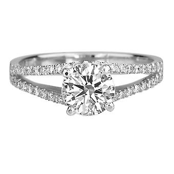 1.11 Carat D VS2 Diamond Engagement Ring 14K White Gold Solitaire w Accents Micro Pave Split Shank
